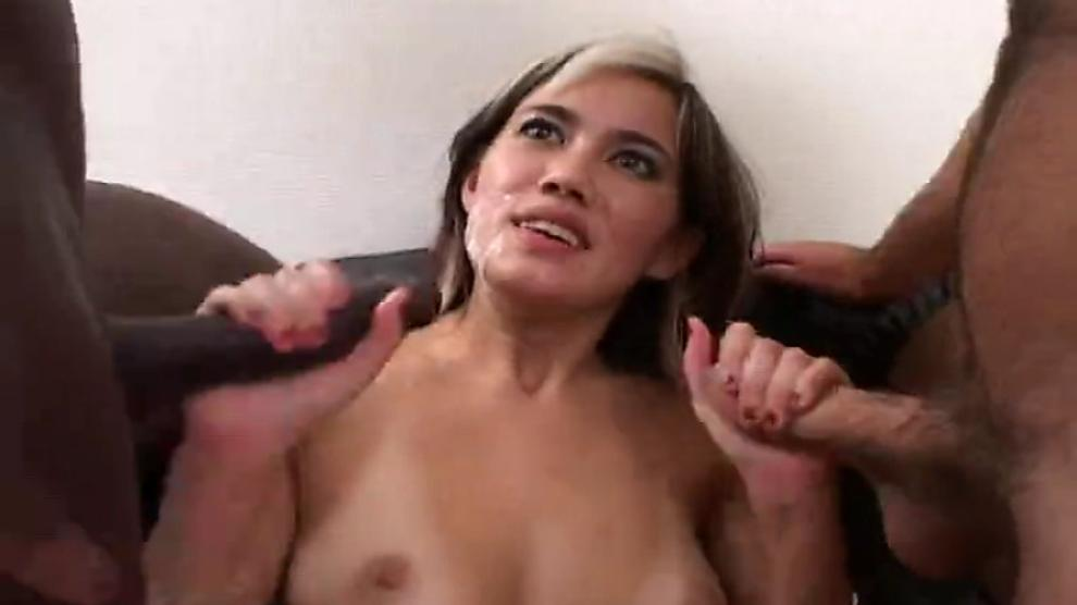 French asian Mayline with two cocks