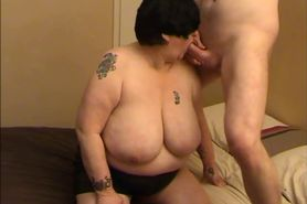 Grandma with huge boobs blowjob