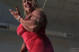 Big tit muscle beauty Colette flexes her erotic body in a tight red dress