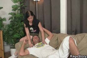 Boozed chick is deep gagged and rough fucked