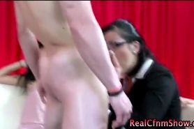 Amateur guy gets a blowjob from classy clothed babe in groupsex