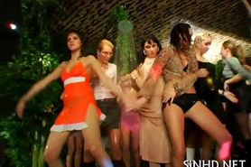 Crazy and wet girls on the dance floor