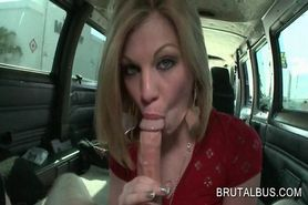 Awesome blonde amateur giving her best BJ in the sex bus