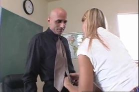 Adorable blonde school girl with small tits takes it on a desk by