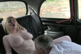 Huge boobs blonde pussy licked and banged in fake taxi