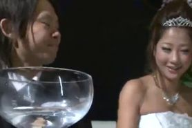 Japanese Wedding Girl got fuck with her husband friend