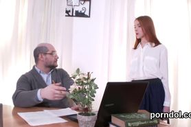 Sweet schoolgirl gets seduced and drilled by her senior lecturer
