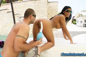 Fetish slut squirts milk from ass