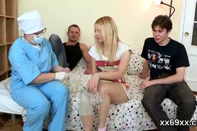 Dude assists with hymen checkup and shagging of virgin teenie