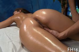 Oily and naughty pussy stroking