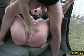 Sexy blonde chick customer rides drivers big cock in the backseat