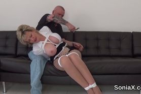 Adulterous english milf lady sonia exposes her enormous breasts