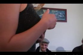 Papy is in for a group fuck and gets his cock sucked