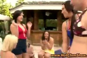 Clothed babes play with their pussies and suck cock in groupsex