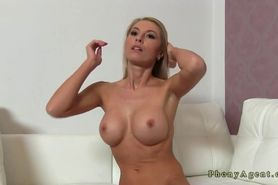 Shaped blonde milf with big tits fucked on casting