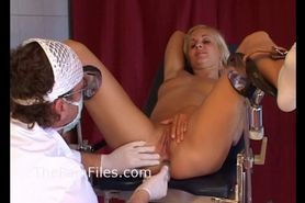 Young blonde slaves medical humiliation and doctors bdsm at the pain clinic of naughty fetish submissive Yvette in the chair