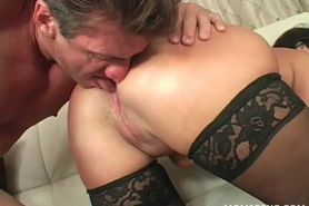 Mommy in stockings gets cunt fucked doggy