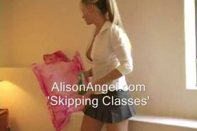 School girl teases