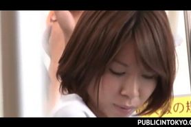 Japanese chick submitted to sexual teasing in the bus