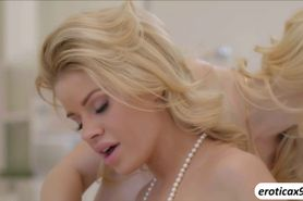 Lesbians Charlotte Stokley and Jessa Rhodes in a heated foreplay
