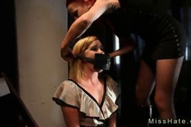 Restrained blonde gets great ass flogged