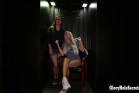 18yo slut and hot blonde MILF in a Gloryhole booth giving blowjobs to strangers and swallow cum