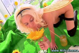 Solo fetish honeybee gets milk enema
