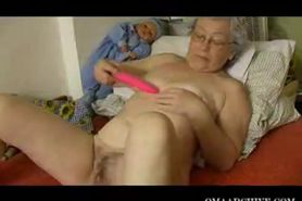 chubby granny with toy