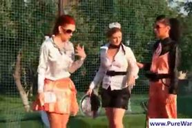 Lesbians play tennis and gets naughty