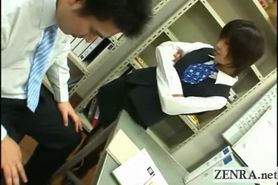 Dominant Japanese office lady in femdom CFNM cock play