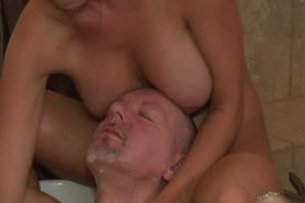 Brunette masseuse spoils man