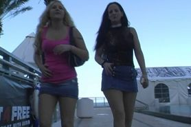 2 girls wetting their panties outside in public