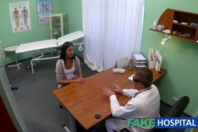 Young teen girl not on birth control bends over for the doctors creampie