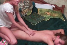 Lesbian girlfriend Sasha giving full body erotic massage