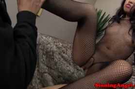 Fishnet suited asian getting rimjob