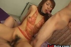 Asian Girl With A Bush In A Threesome