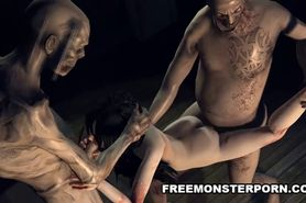 Sexy infected 3D cartoon babe double teamed by some zombies