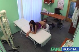 Slim gorgeous patient needs doctors cream for her beautifully tanned skin