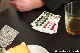 Granny swallows two cocks after poker game