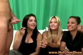 Classy clothed babes watch two guys jurk off in reality sexparty