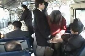 Japanese Lady is groped and fucked on bus