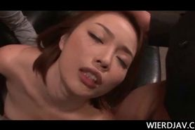 Arousing redhead Japanese takes on cock after another in orgy