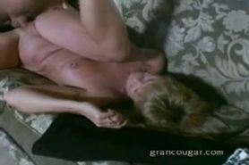 Old granny gets pussy fucked on the couch