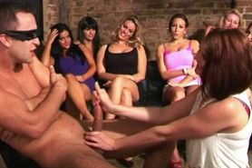 Group of femdom babes watch friend jerk