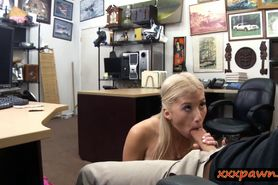 Busty blond shows off ass and drilled at the pawnshop