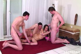 Teen fucked by a group of guys
