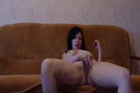 Hot brunette wife with big tits fucks her husband