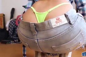 Perfect Latino Round Ass!OMG! Body in Skirt and Tiny Thong!
