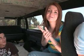 Bitchy teen gets tits licked in the sex bus