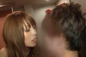 Horny Japanese redhead flashes dick sucking skills